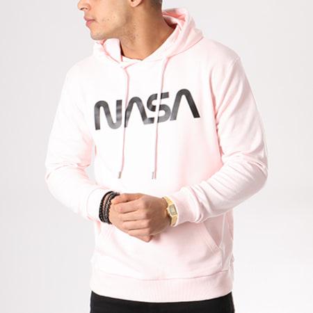 NASA - Sweat Capuche Worm Logo Rose Noir