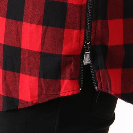 Urban Classics - Chemise Manches Longues Oversize Zip TB1001 Rouge Carreaux Noir