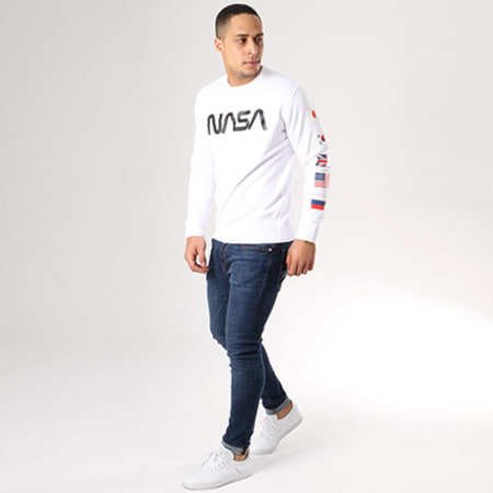 NASA - Sweat Crewneck Flags Blanc
