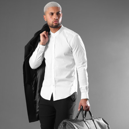 LBO - Chemise Manches Longues Col Mao Slim Fit 404 Blanc
