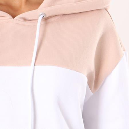 Urban Classics - Sweat Capuche Femme TB1843 Rose Pale Gris Chiné Blanc