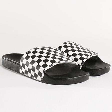 Vans - Claquettes Chekerboard Slide-One AKIIP9 Noir Blanc ...
