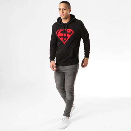 Superman - Sweat Capuche Red Logo Noir