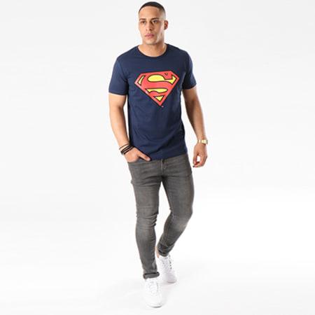 Superman - Tee Shirt Superman Logo Bleu Marine