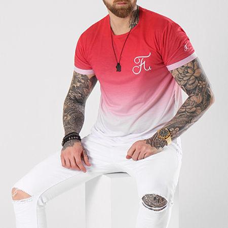Final Club - Tee Shirt Oversize Dégradé Avec Broderie 055 Rouge Et Blanc