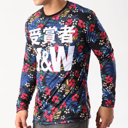 Y Et W - Tee Shirt Manches Longues Reversible Flower Noir