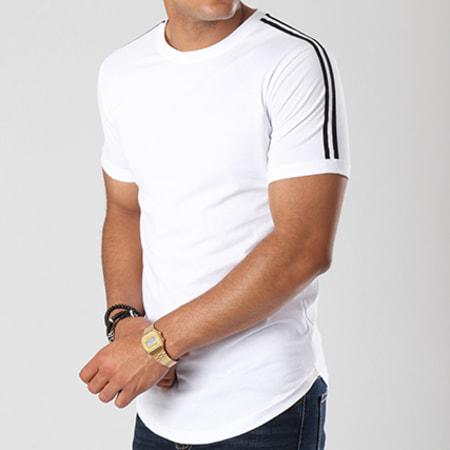 LBO - Tee Shirt Oversize Avec Bandes Noir Et Blanc 453 Blanc