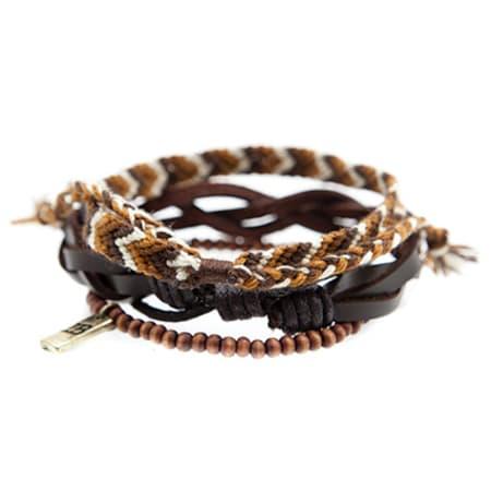 Icon Brand - Lot De 3 Bracelets Outbound Combo Marron Blanc
