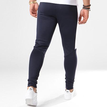Aarhon - Pantalon Jogging 105 Avec Bande Bleu Marine Blanc