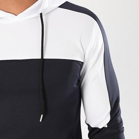 Aarhon - Sweat Capuche 104 Bicolore Bleu Marine Blanc