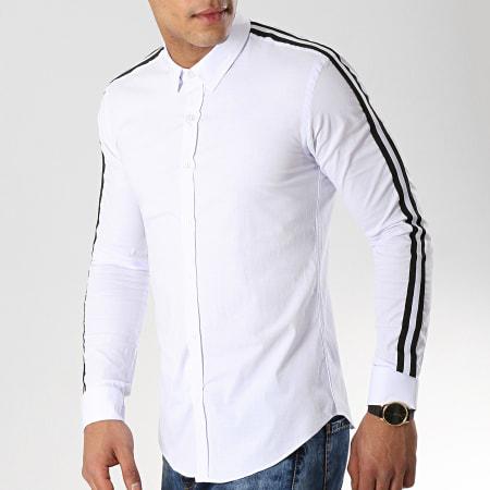 LBO - Chemise Manches Longues Avec Bandes Slim Fit 460 Blanc