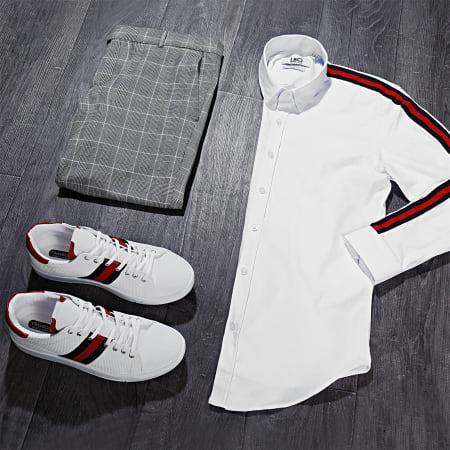 LBO - Chemise Manches Longues Avec Bandes Slim Fit 461 Blanc