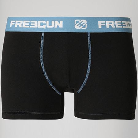Freegun - Boxer Coton Confort Noir Bleu Clair