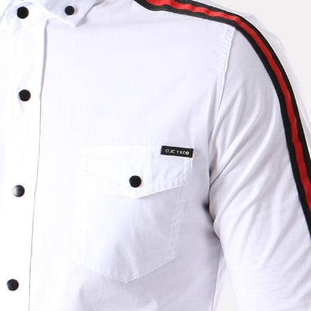 Classic Series - Chemise Manches Longues Bandes Brodées 115 Blanc Noir Rouge