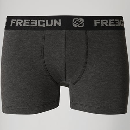 Freegun - Lot De 2 Boxers Ultra Soft Gris Anthracite Chiné Bleu Roi