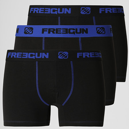 Freegun - Lot De 3 Boxers Coton Bi Stretch Noir Bleu Roi