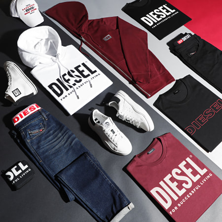 Diesel - Tee Shirt Jake 00CG46-0DARX Noir Rouge
