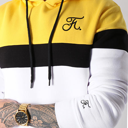 Final Club - Sweat Capuche Tricolore Avec Broderie 070 Blanc Noir Jaune