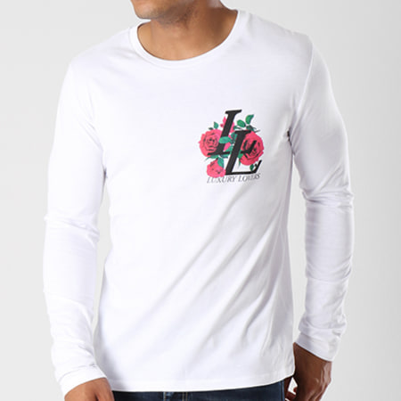 Luxury Lovers - Tee Shirt Manches Longues Emblem Back Blanc