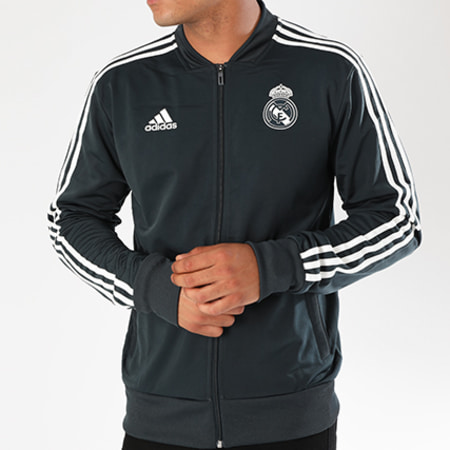 adidas - Veste Zippée Bandes Brodées Real Madrid CW8636 Bleu Marine
