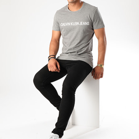 Calvin Klein - Tee Shirt Basic Institutional Logo 7855 Gris Chiné