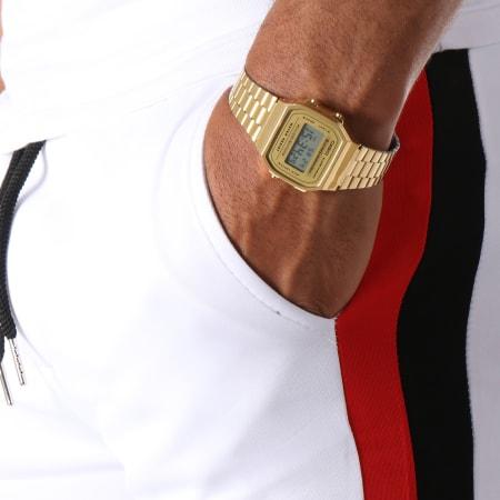 Aarhon - Short Jogging 211 Avec Bandes Blanc Rouge Bleu Marine
