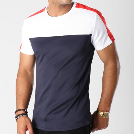 Aarhon - Tee Shirt 202 Avec Bande Bleu Marine Blanc Rouge