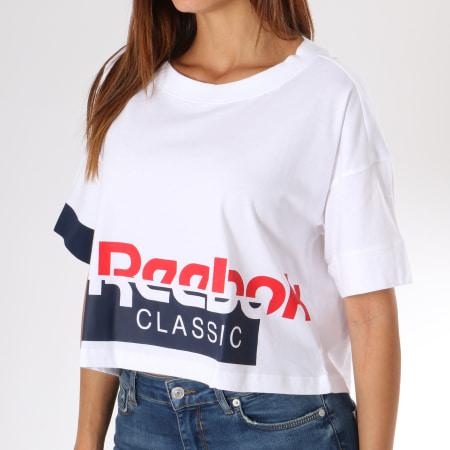 Reebok Tee Shirt Femme Crop Classics DH1321 Blanc Bleu