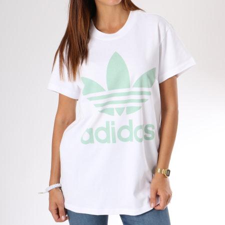 adidas Tee Shirt Oversize Femme Big Trefoil DH4428 Blanc