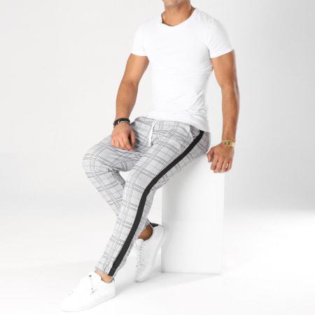 Frilivin - Pantalon A Carreaux Avec Bandes 1332 Gris Noir