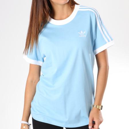 adidas Tee Shirt Femme 3 Stripes DH3146 Bleu Clair
