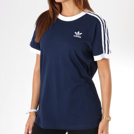 adidas Tee Shirt Femme 3 Stripes DH4423 Bleu Marine
