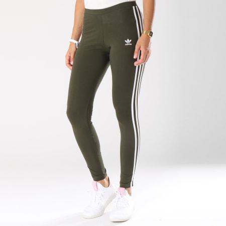 adidas - Legging Femme 3 Stripes DH3171 Vert Kaki ...