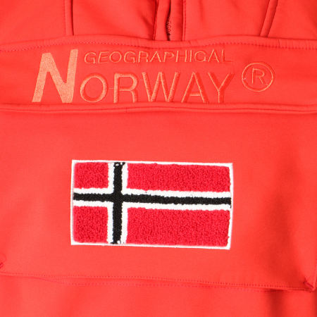 Geographical Norway - Veste Capuche Patchs Brodés Target Rouge