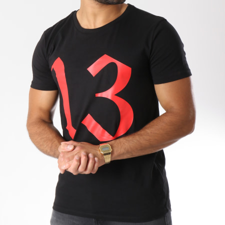13 Block - Tee Shirt Logo Noir Rouge