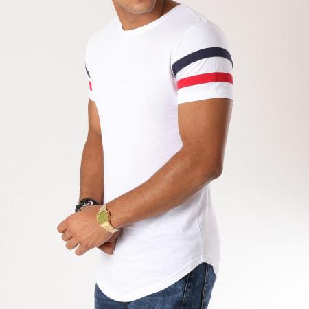 LBO - Tee Shirt Oversize Avec Bandes Tricolore 471 Blanc