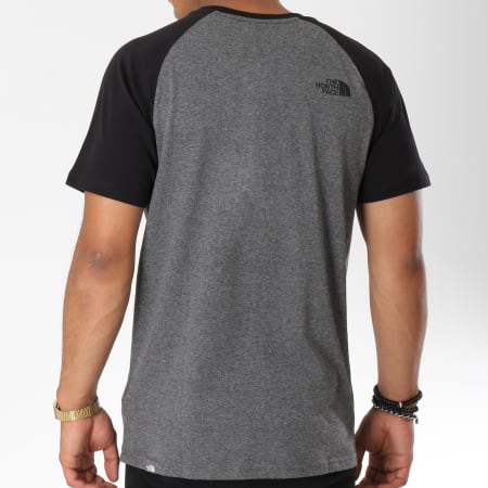The North Face - Tee Shirt Easy Raglan Gris Anthracite Chiné Noir