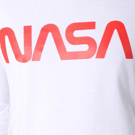 NASA - Tee Shirt Manches Longues Flags Blanc Rouge