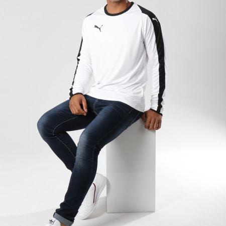 Puma - Tee Shirt Manches Longues De Sport LIGA Jersey 703419 Blanc Noir