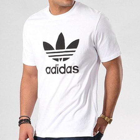 adidas - Tee Shirt Trefoil CW0710 Blanc Noir