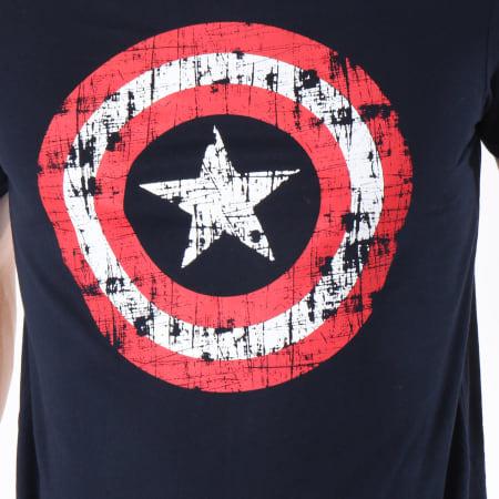 Marvel - Tee Shirt Captain America Shield Bleu Marine
