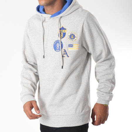 Anthill - Sweat Capuche Badge Gris Chiné
