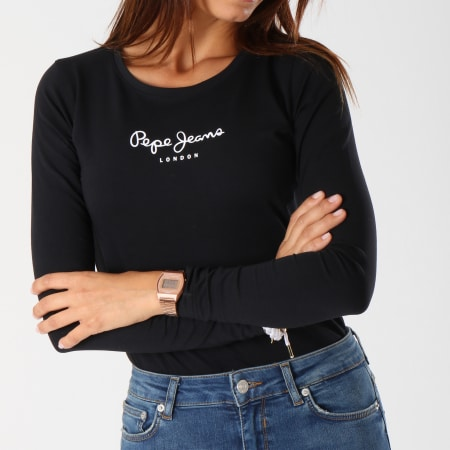 Pepe Jeans - Tee Shirt Manches Longues Femme New Virginia Noir