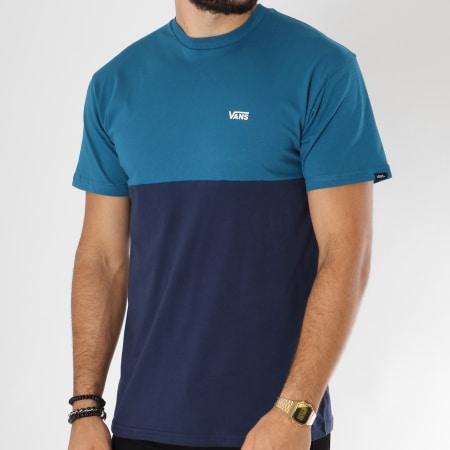 Vans - Tee Shirt Colorblock Bleu Pétrole Bleu Marine ...