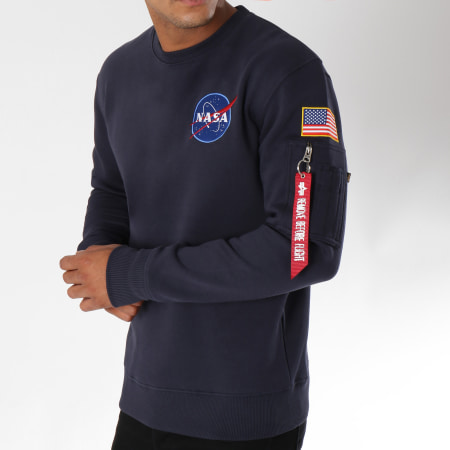 Alpha Industries - Sweat Crewneck Avec Poche Bomber Nasa Space Shuttle Bleu Marine