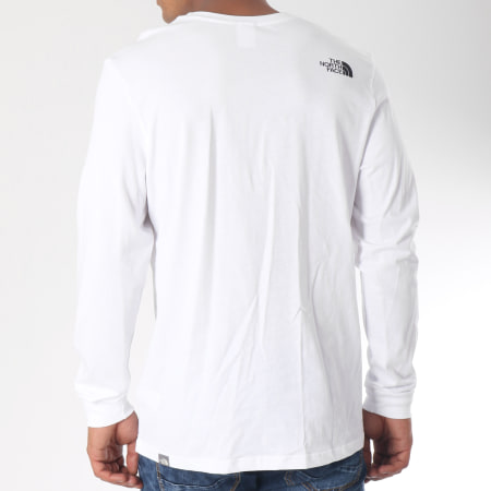 The North Face - Tee Shirt Manches Longues Simple Dome Blanc Noir