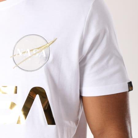 Alpha Industries - Tee Shirt Nasa Reflective Blanc Doré