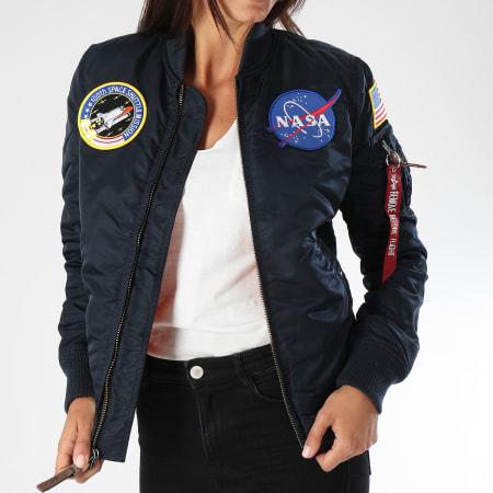 Alpha Industries - Bomber Femme Patchs Brodés Nasa Bleu Marine
