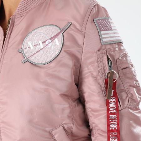 Alpha Industries - Bomber Femme Patchs Brodés Nasa Lila