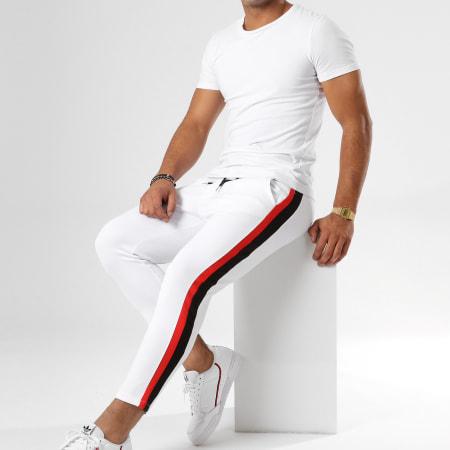 Aarhon - Pantalon Avec Bandes 18-239 Blanc Noir Rouge